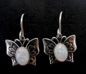 Navajo small white lab opal and sterling silver butterfly dangle earrings