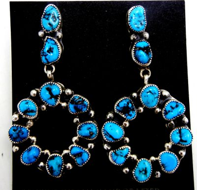 Navajo turquoise nugget and sterling silver circle dangle earrings
