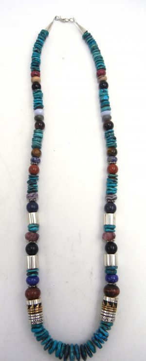 Navajo turquoise, multi-bead, and sterling silver and gold fill overlay necklace by Rosita Singer