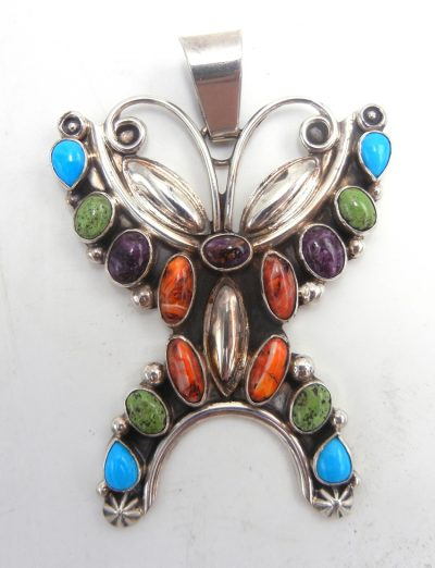 Navajo turquoise, spiny oyster shell and sterling silver butterfly pendant
