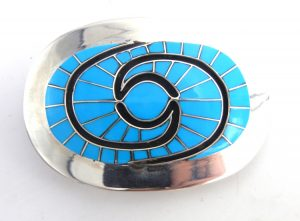 Zuni turquoise and sterling silver inlay hummingbird pattern belt buckle by Amy Quandelacy