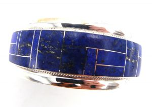Zuni lapis and sterling silver channel inlay cuff bracelet by Rickel and Glendora Booqua