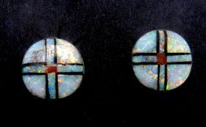 Zuni multi-stone inlay circular post earrings