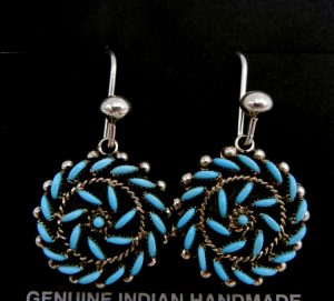 Zuni turquoise needlepoint and sterling silver whirlwind dangle earrings