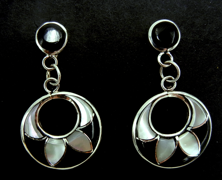 Zuni jet, white mother of pearl and sterling silver inlay dangle earrings by Olrinda Natewa