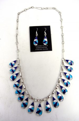 Zuni lapis, turquoise, white mother of pearl and sterling silver inlay necklace and earring set by Orlinda Natewa