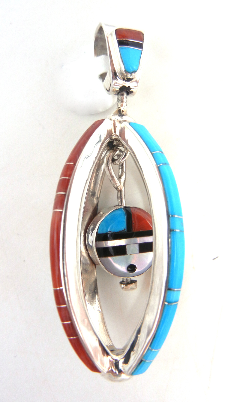 Zuni contemporary multi-stone inlay encased swiveling sunface pendant