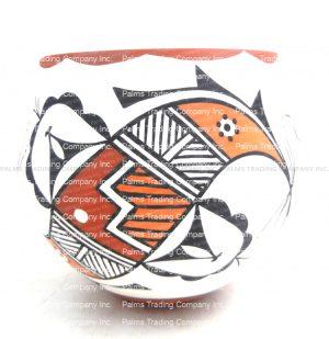 Acoma handmade and hand painted polychrome parrot design jar by David Antonio