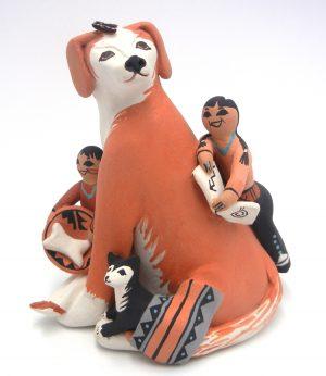Jemez dog storyteller figurine with two children and puppy by Carol Lucero Gachupin