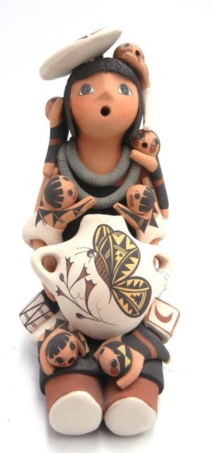 Jemez handmade seated female storyteller with seven children, plate, and canteen by Kenneth Sando
