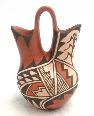 Jemez handmade and hand painted red polished multi-design small wedding vase by Juanita Fragua