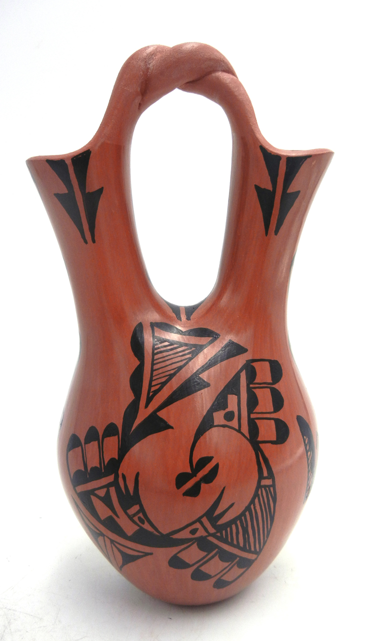 Jemez handmade buff and red polished and painted wedding vase by Christine Tosa