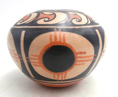 """Santo Domingo handmade and hand painted """"New Mexico Eclipse"""" bowl by Robert Tenorio"""