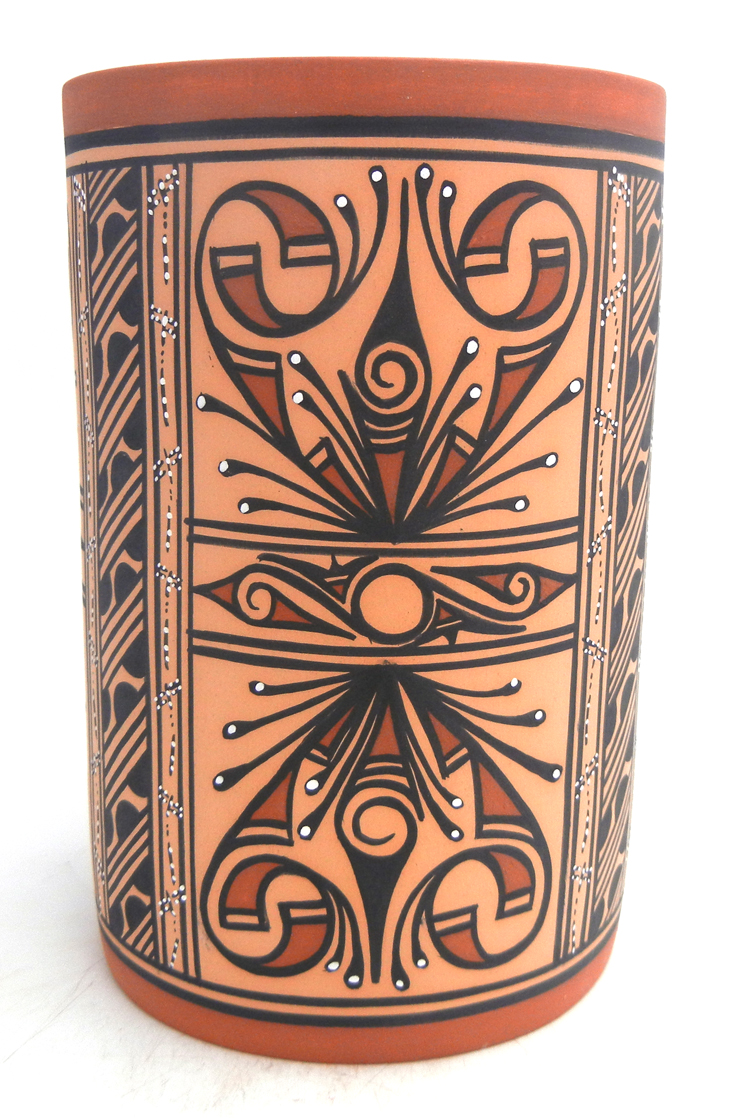 Zuni handmade and hand painted multi-design cylinder by Tonia Fontenelle