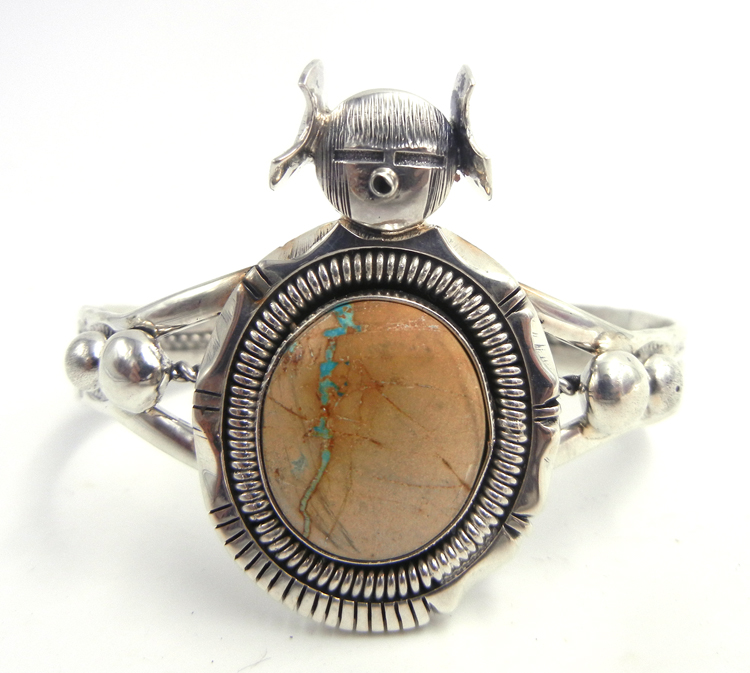 Navajo Royston Ribbon turquoise and sterling silver maiden cuff bracelet by Bennie Ration