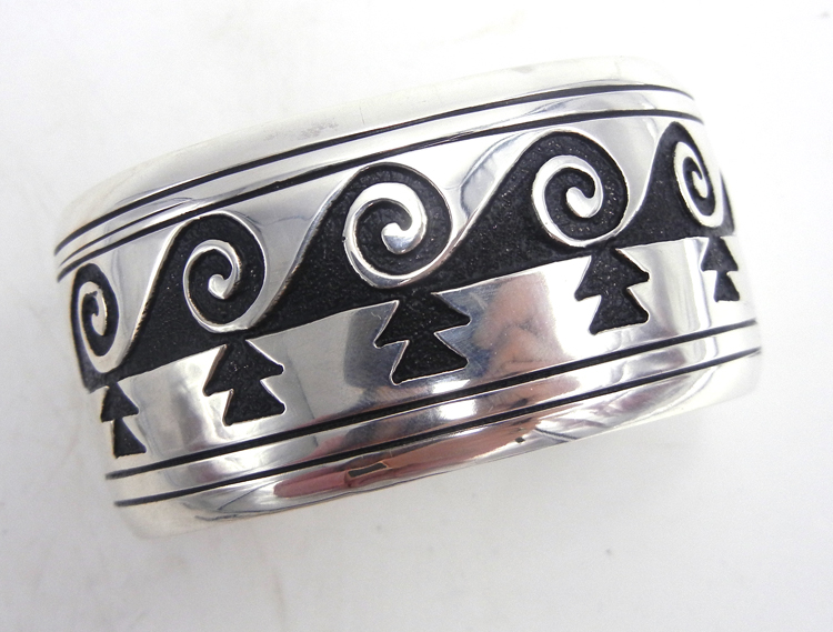 Navajo sterling silver overlay weather pattern cuff bracelet by Rosita Singer