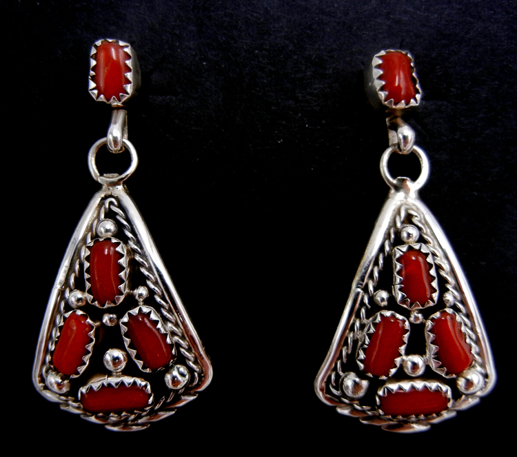Navajo coral and sterling silver cluster dangle earrings