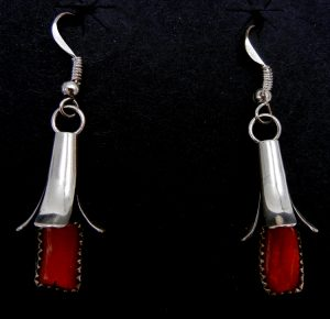 Navajo coral and sterling silver squash blossom dangle earrings by Doris Smallcanyon