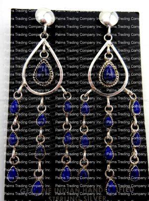 Navajo lapis and sterling silver chandelier dangle earrings