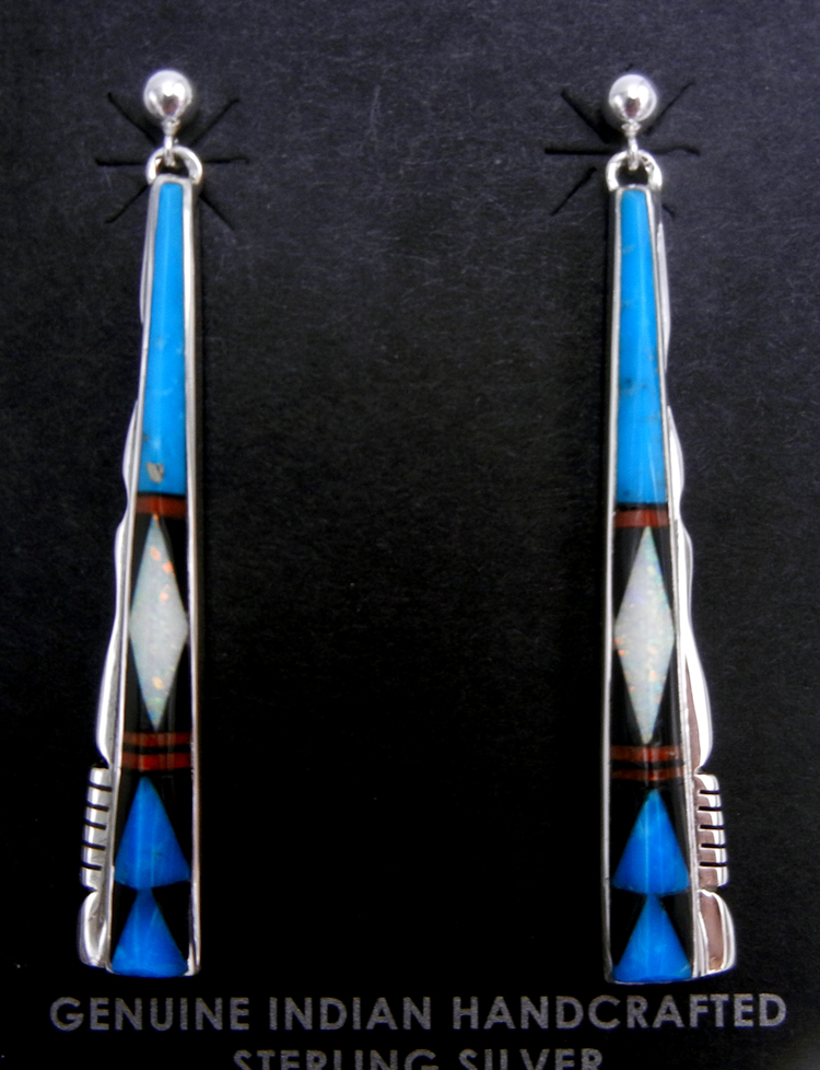 Navajo multi-stone inlay and sterling silver dangle earrings by Calvin Begay