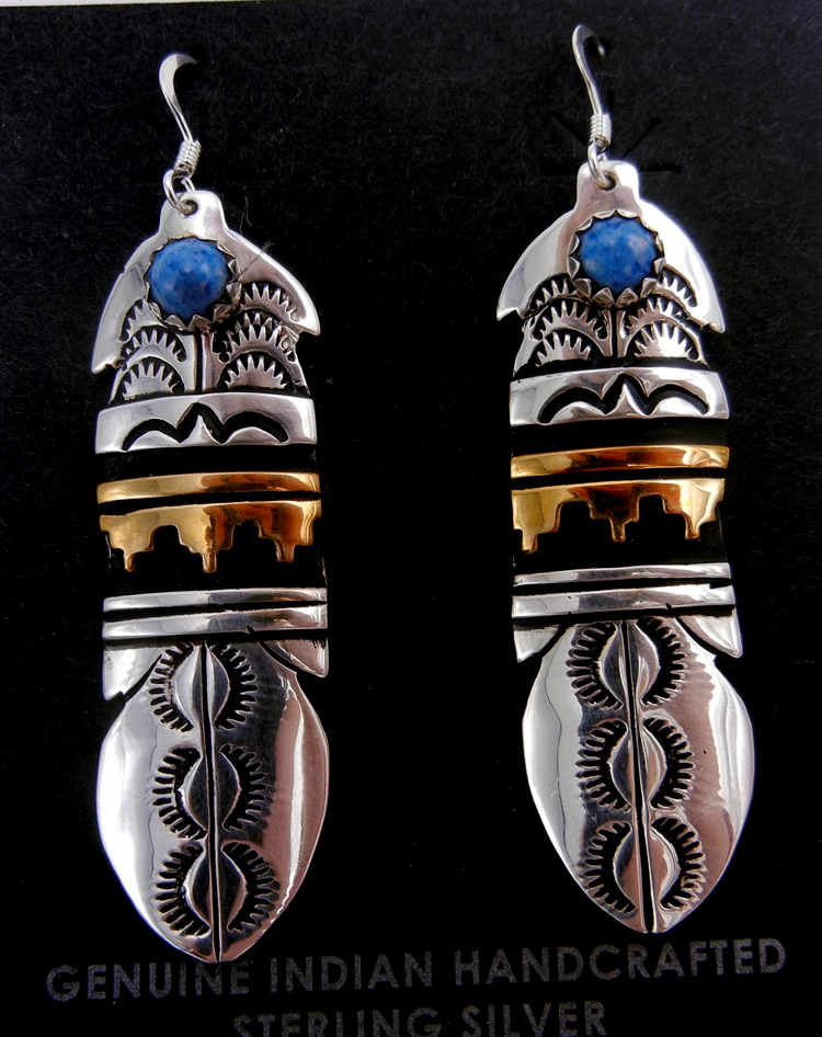 Navajo sterling silver and gold fill overlay feather dangle earrings with turquoise accents by Rosita Singer