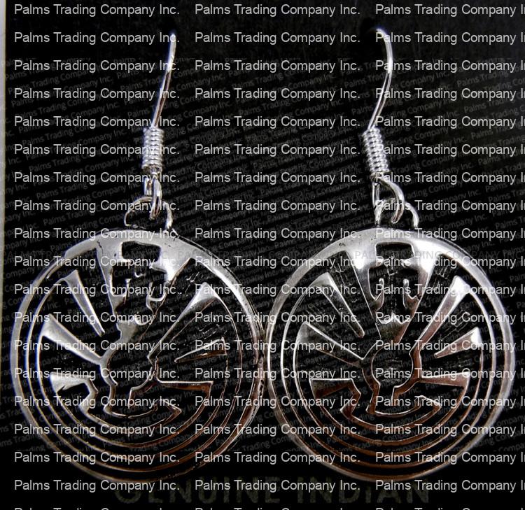 Navajo sterling silver overlay man in the maze dangle earrings