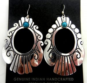 Navajo sterling silver overlay and turquoise cut out dangle earrings by Rosita Singer