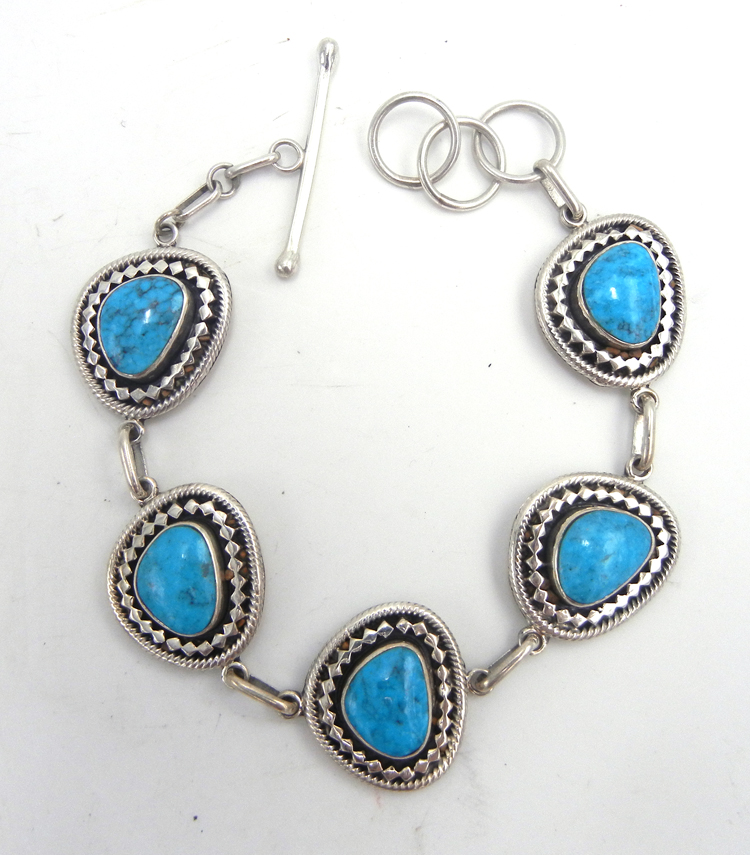 Navajo turquoise and sterling silver link bracelet