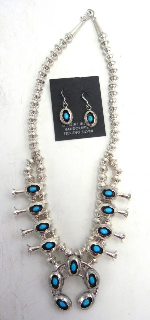Navajo turquoise and sterling silver small shadowbox style squash blossom necklace and earring set