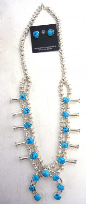 Navajo Kingman turquoise and sterling silver squash blossom necklace and earring set