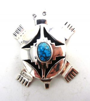 Navajo sterling silver and turquoise shadowbox style turtle pendant by Bennie Ration