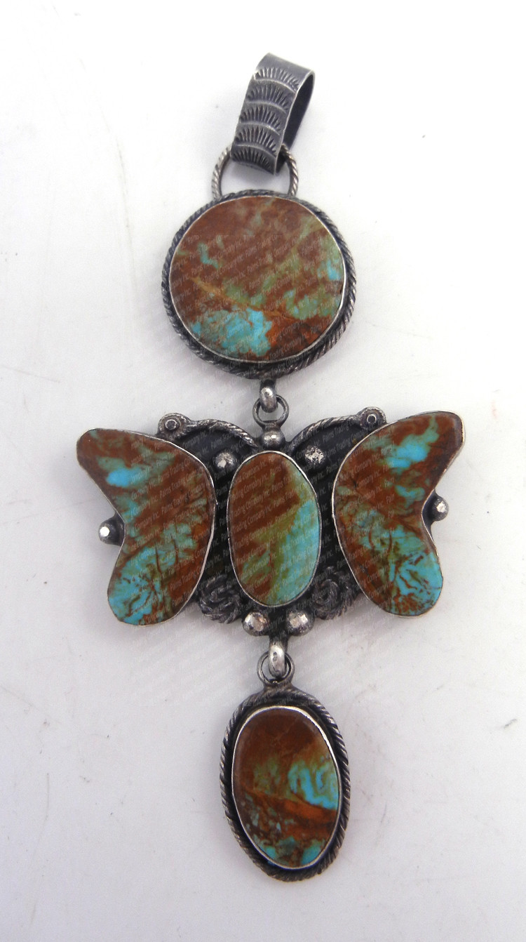 Navajo green Kingman turquoise and sterling silver dangling butterfly pendant