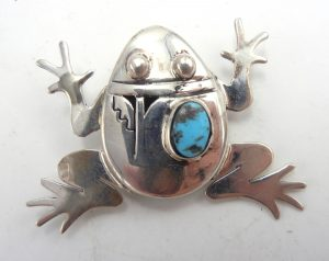 Navajo sterling silver and turquoise shadowbox style frog pin/pendant by Bennie Ration