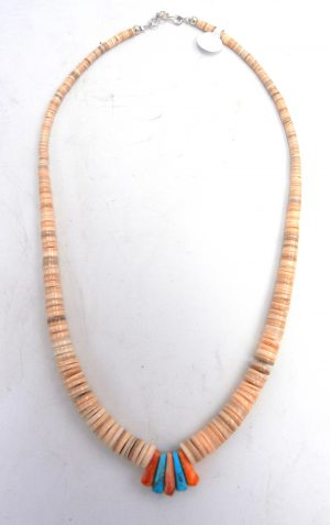 Santo Domingo melon shell heishi necklace with turquoise and orange spiny oyster jacla by Lupe Lovato