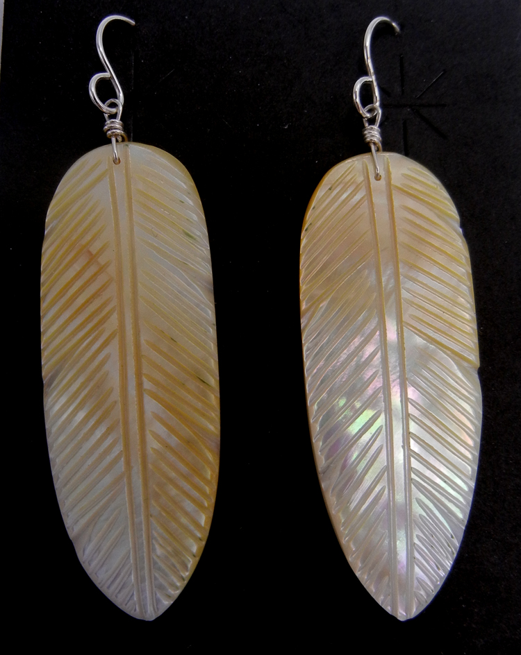 Santo Domingo etched golden mother of pearl feather slab earrings