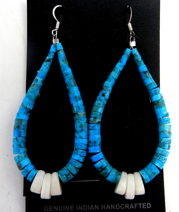 Santo Domingo turquoise heishi and white mother of pearl jacla earrings by Lupe Lovato
