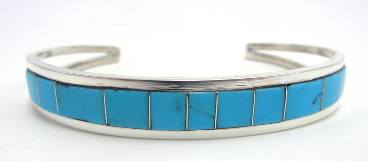 Zuni turquoise and sterling silver channel inlay cuff bracelet