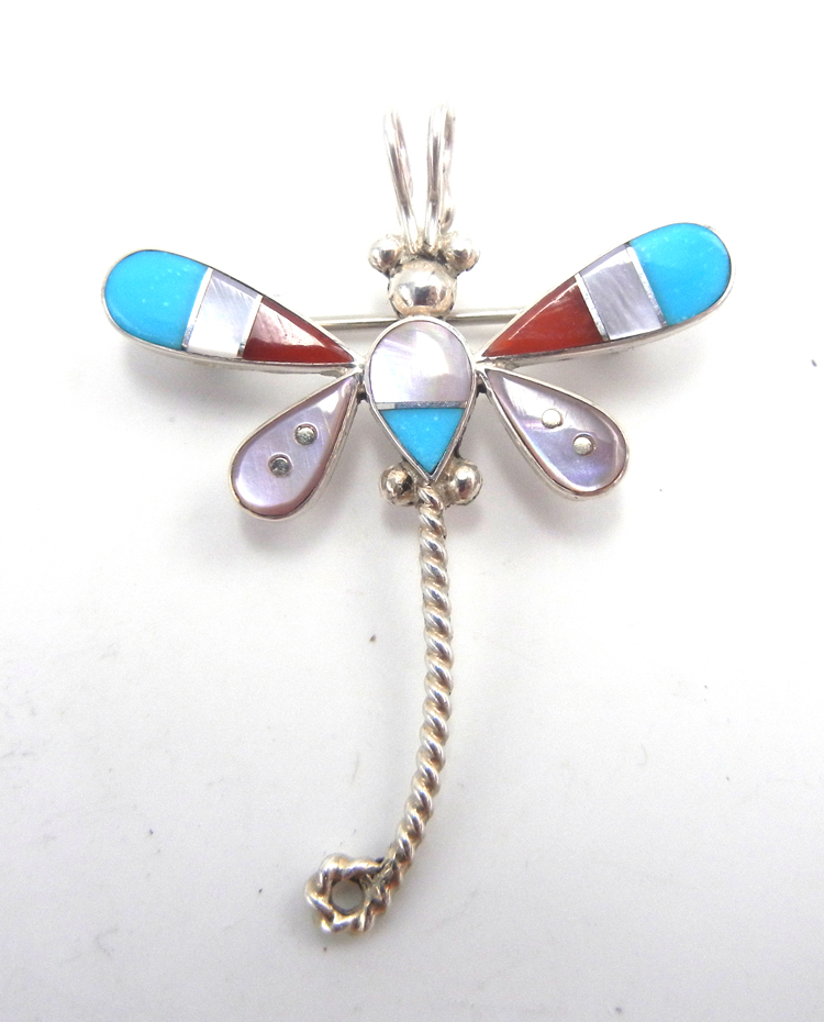 Zuni small multi-stone inlay and sterling silver dragonfly pin/pendant