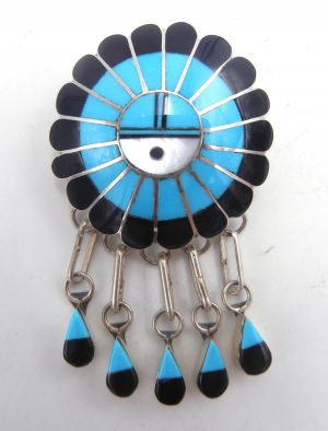 Zuni multi-stone inlay and sterling silver sunface pin/pendant