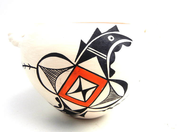 Acoma handmade polychrome parrot bowl with twisted handles by Beverly Garcia