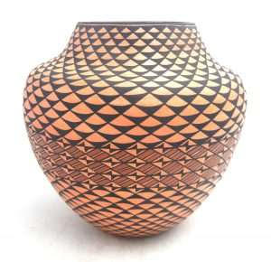 Acoma handmade and hand painted large weather pattern jar by Sharon Stevens