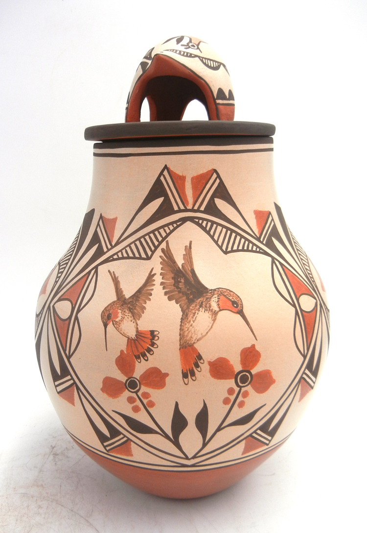 Zia handmade and hand painted lidded multi-pattern jar by Elizabeth and Marcellus Medina