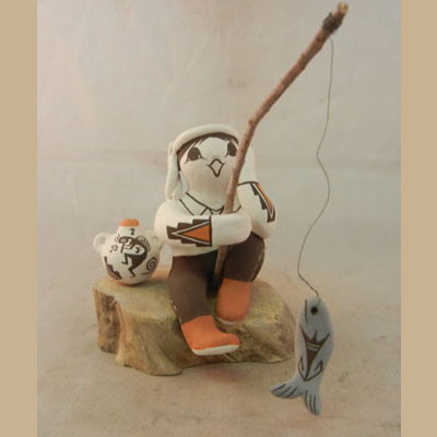 Acoma Adorable Boy Fishing Figurine by Marilyn Ray